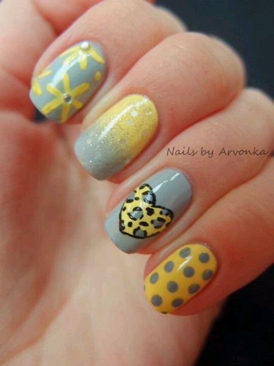 Yellow and gray nail design: Heart Nails, Wedding Nails, Nailart, Nails Design, Summer Nails, Colors Schemes, Valentine Nails, Gray Nails, Nails Art Design