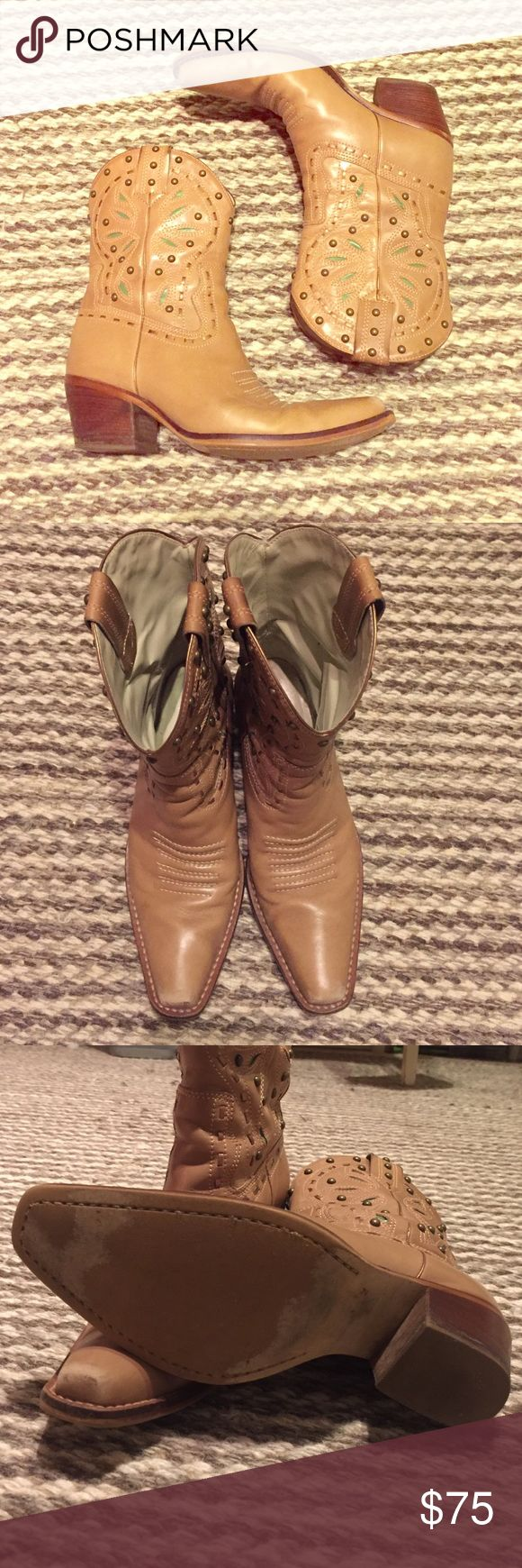 Leather cowgirl boots Tan leather cow girl boots with real design and gold/bronze studs!! So beautiful, worn in but in good condition! mercer & madison Shoes Heeled Boots