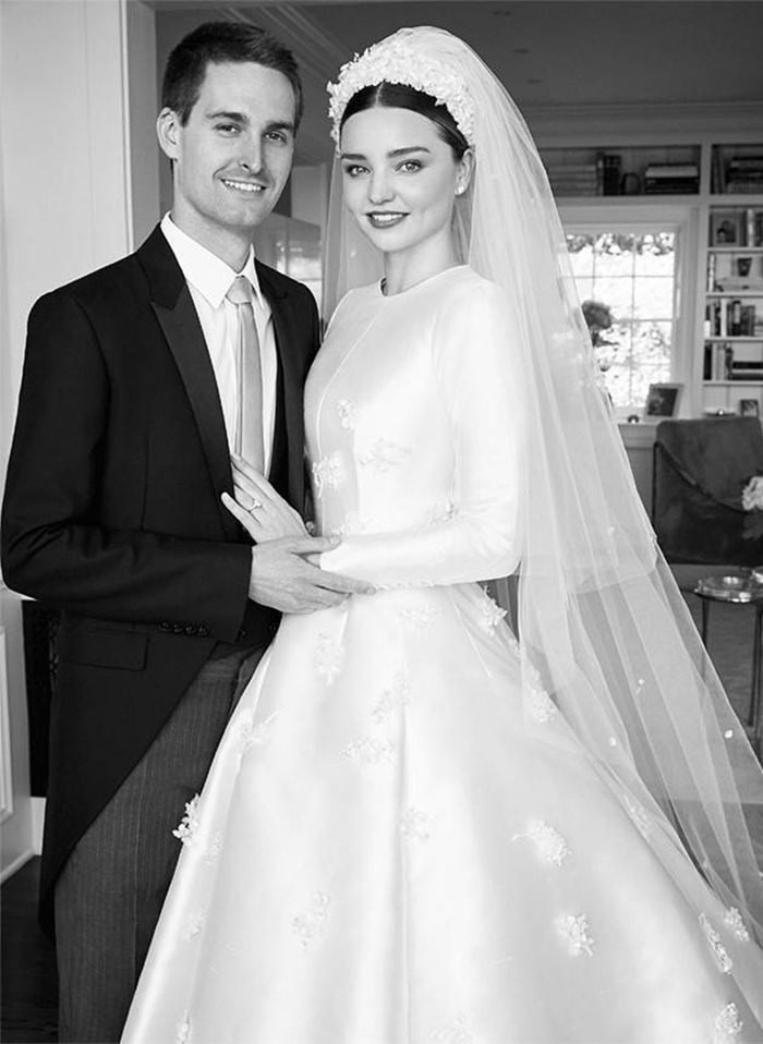 Miranda Kerr shares exclusive photos in Vogue of the gorgeous Dior Haute Couture wedding dress she wore to marry Evan Spiegel.