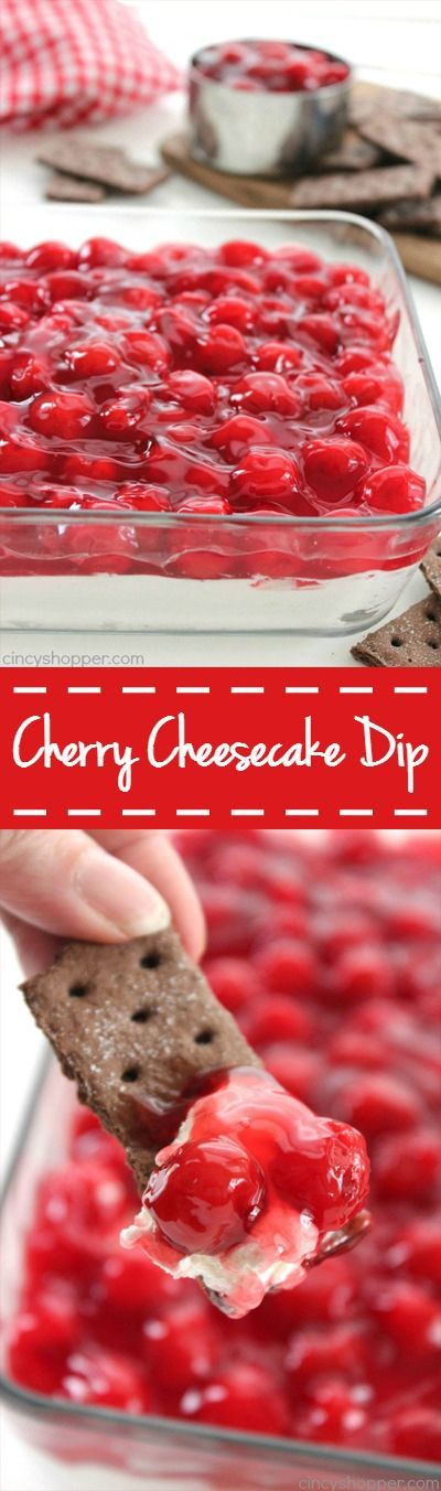 Cherry Cheesecake Dip - Just 4 Ingredients. Makes for a perfect appetizer. Serve them with graham crackers, Nilla wafers, or even pretzels. #dessert #recipe #desserts