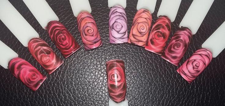 Дизайн ногтей.Рисуем розы и дорабатываем разными способами