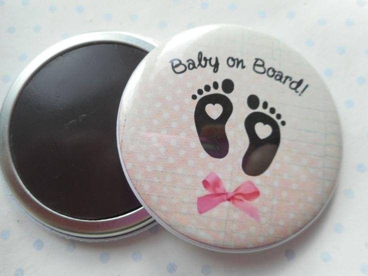 """Grand magnet 56 mm """"baby on board"""" 56 mm rose, blanc, pois, bébé à bord - naissance : Accessoires de maison par miss-coopecoll"""