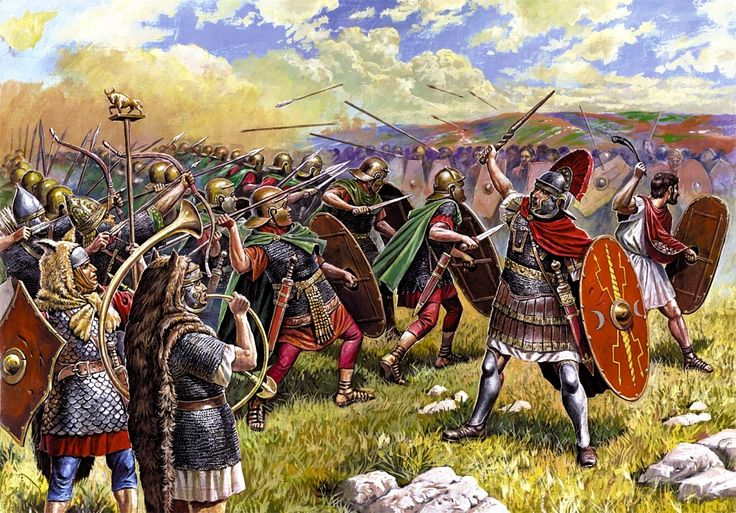Roman legions in combat against Gallic warriors