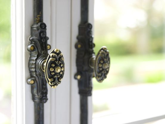 Elegant Victorian ironmongery on French doors in a country home. Image taken from \u0027Secrets & 13 best Ironmongery images on Pinterest | Lever door handles Cucina ...
