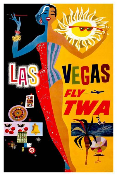 printables, classic posters, free download, graphic design, retro prints, travel, travel posters, vintage, vintage posters, Las Vegas Fly TWA - Vintage Travel Poster