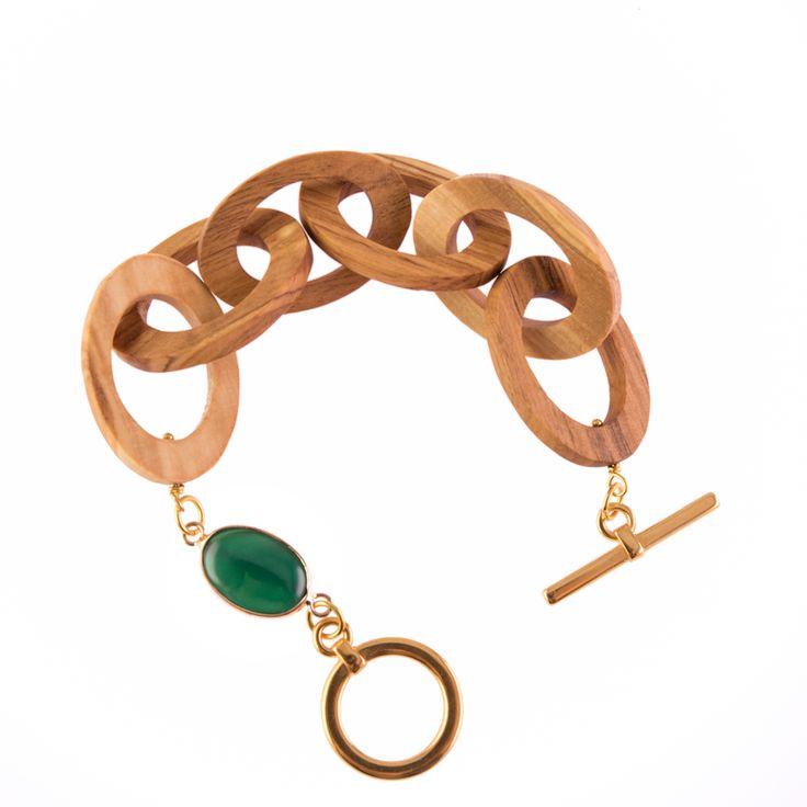 Oval Olive Wood Handcrafted Bracelet