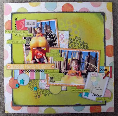 Summer layout, lots of layers, using stencils, sprays, stitching. Paper is MME, Echo Park and American Crafts