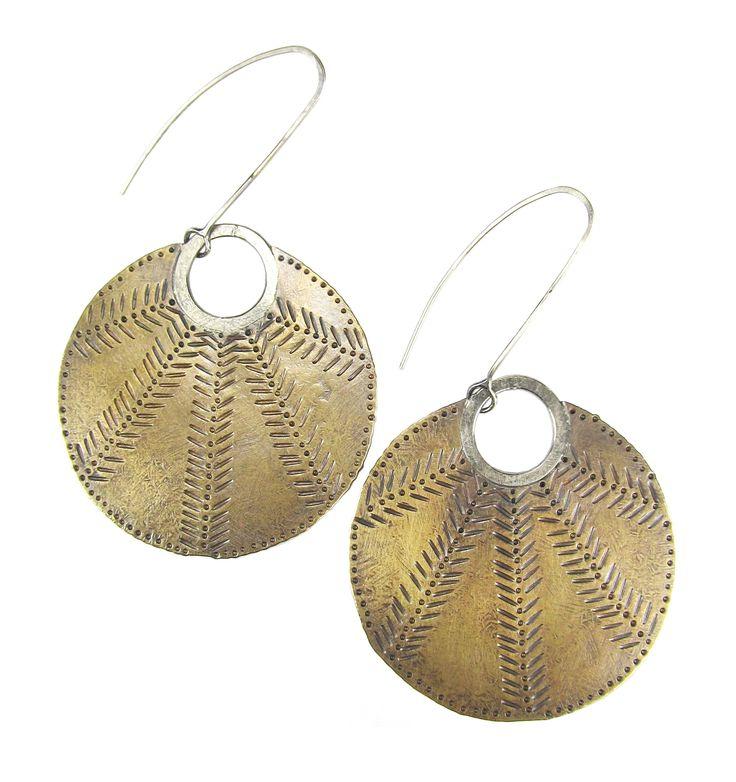 Patterned Brass Sun Disk Earrings