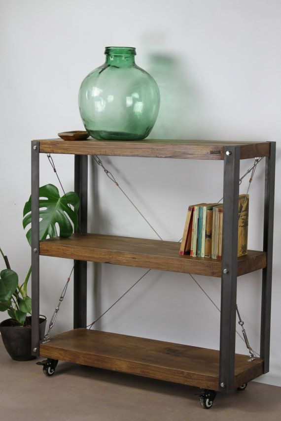 KONK Oak/Steel  Cart Bookcase/Bookshelf от KONKfurniture на Etsy