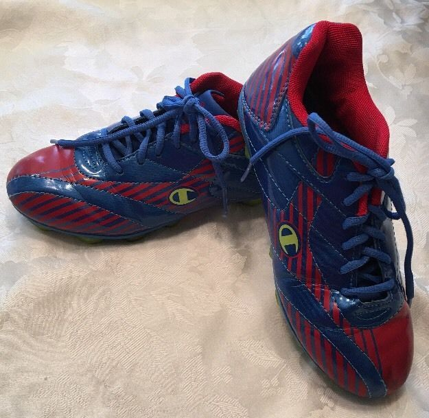 Youth Soccer Shoes Cleats Size 3.5 Blue Red Lime Girls Boys Size 3 1/2 Champion  | eBay