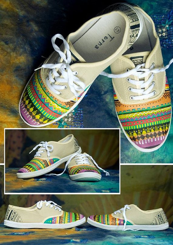 Hand painted shoes, aztec plimsolls, colorful shoes for women MADE TO ORDER. €45,00, via Etsy.