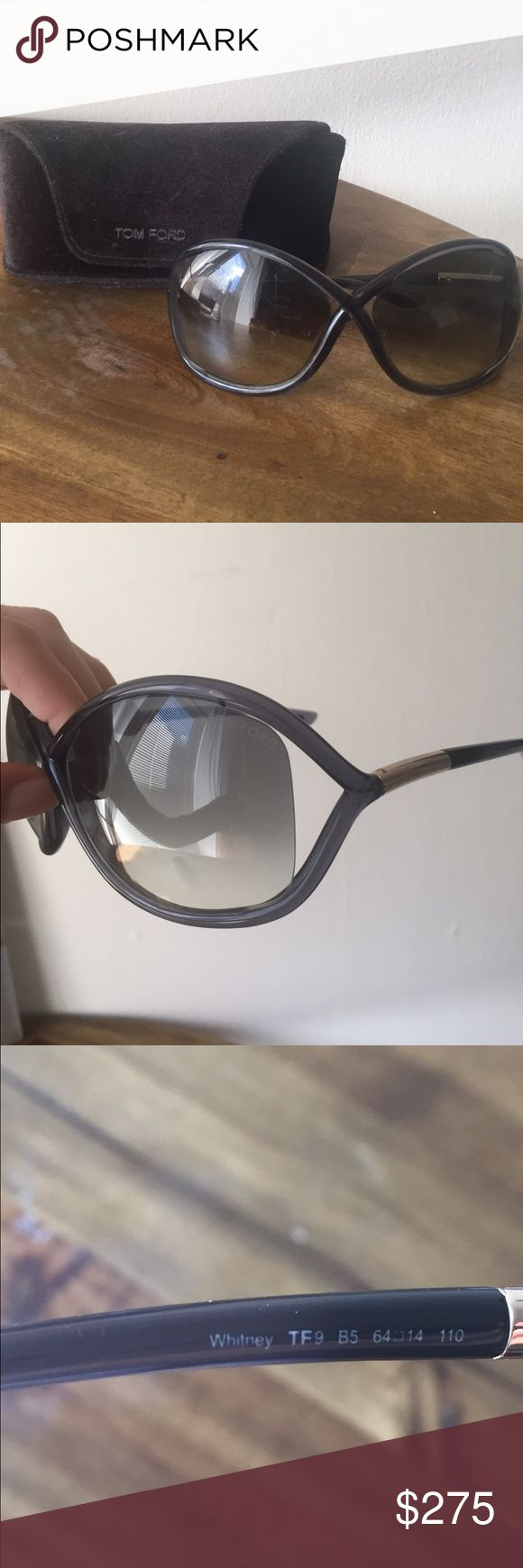 Tom Ford 'Whitney' oversized sunglasses with case Tom Ford Whitney sunglasses in grey, case included. No scratches, these have only been worn a few times! Tom Ford Accessories Sunglasses