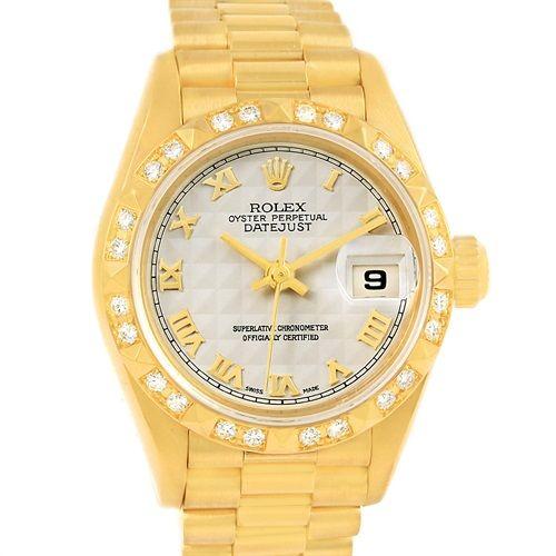 14227 Rolex President Datejust 18k Yellow Gold Diamond Watch 69258 SwissWatchExpo