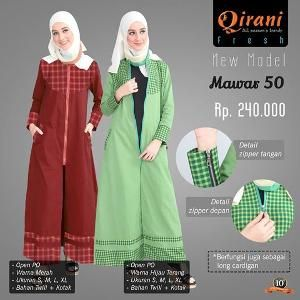 Baju Long Cardigan Outter Gamis Wanita Qirani Fresh Mawar 50