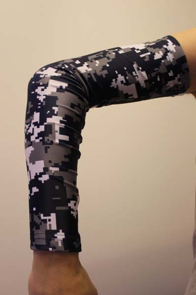 Navy blue gray white camo compression arm sleeve