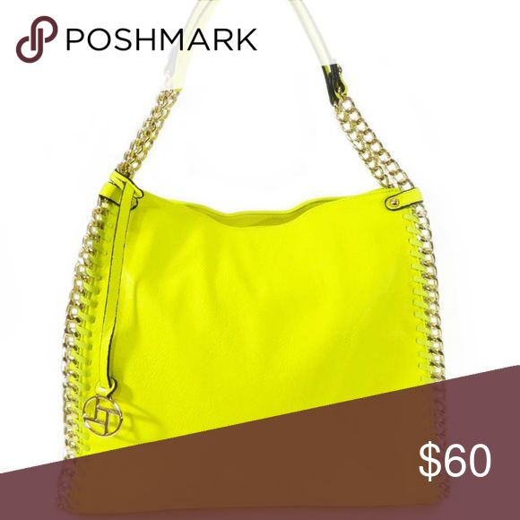 Edged Chainlink Neon Yellow Shoulder Bag Color:  Neon Yellow;  Dimensions:  coming soon Bags Shoulder Bags