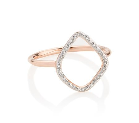 Monica Vinader Riva Diamond Hoop Ring 18ct Rose Gold Plated Vermeil on Sterling Silver Diamond