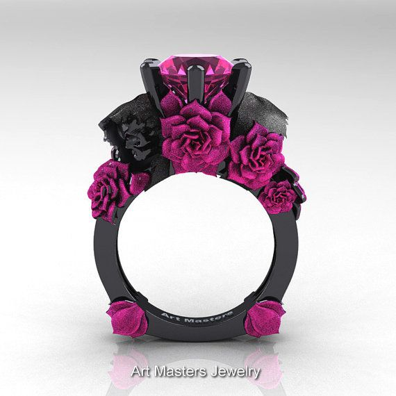 Love and Sorrow 14K Black Gold 3.0 Ct Pink Sapphire Skull and Pink Rose Solitaire Engagement Ring R713-14KBPGSPS