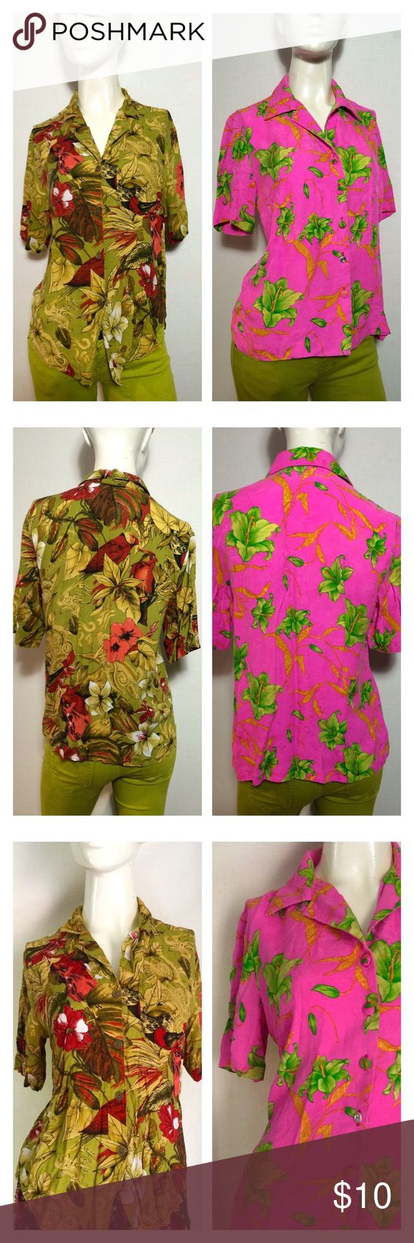 🌺Nerdy Hawaiian Shirt Set Hipster Mom Unisex Tops 2 totally vintage nerdy hipster button down blouses - the hot pink one is a truly awesome silk number but one of the buttons last from bottom is missing the cover. still cute but I'll sell em cheap to reflect the flaw - both medium or men xsmall Vintage Tops Button Down Shirts