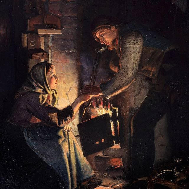 Happy Valentines Day - have a great day in front of the fireplace or in another romantic setting! Michael Ancher 'A betrothal at eventide in a fisherman's cottage'. 1876 #michaelancher