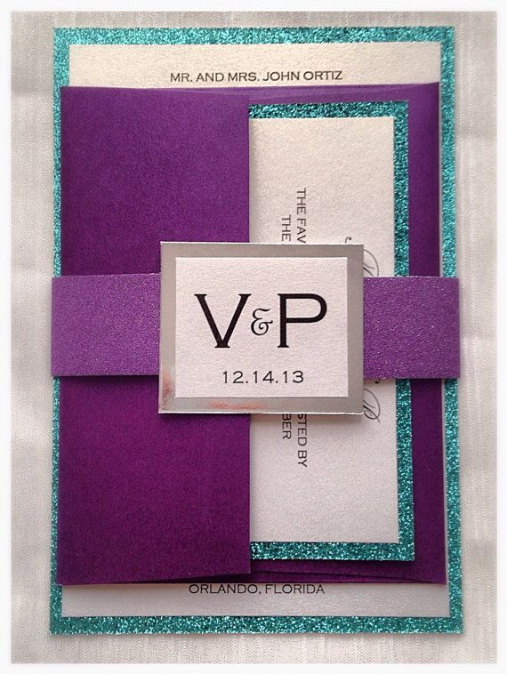 Teal and Purple Glitter Wedding Invitation with by VPElegance