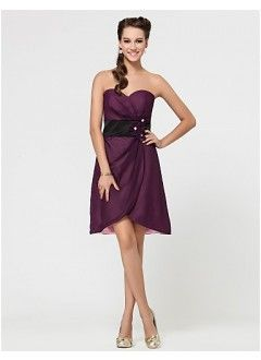 Graceful A-line Sweetheart Mini-length Chiffon Handmade Flowers Bridesmaid Dress - I like this style