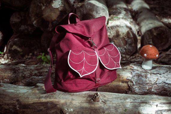 Burgundy Leaf Rucksack, Women's Backpack, 2 Leaf Pocket Backpack, Waterproof Festival Backpack, Hipster Backpack,Lightweight School Backpack