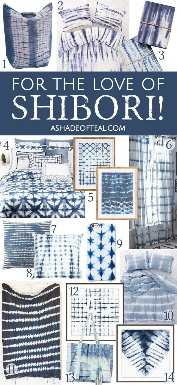 For The Love of Shibori! Your ultimate Shibori shopping guide. Indigo dye, indigo tie-dye decor.