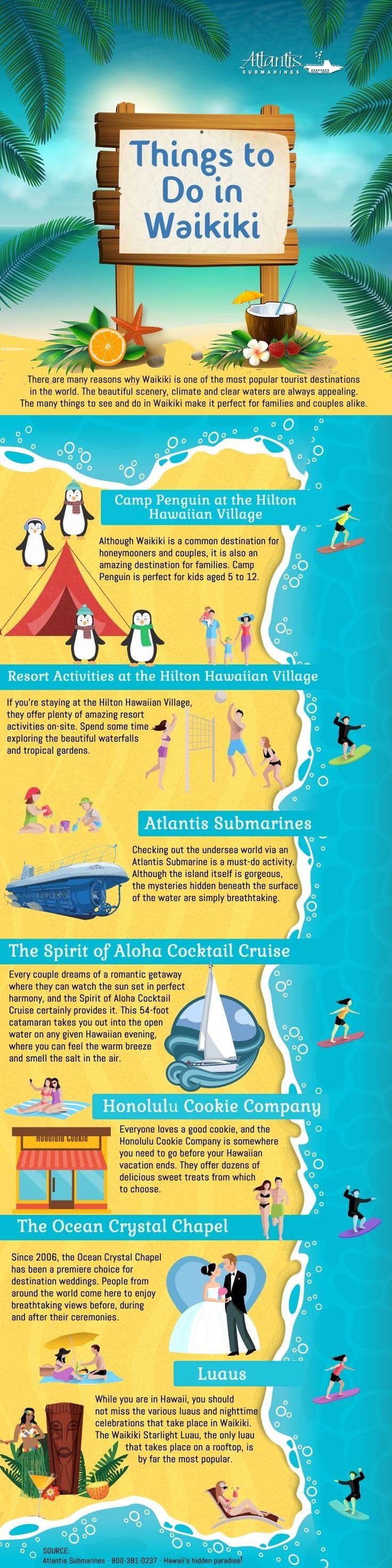 http://www.atlantisadventures.com/waikiki This infographic lists 7 top ideas what to do in Waikiki, Hawaii.