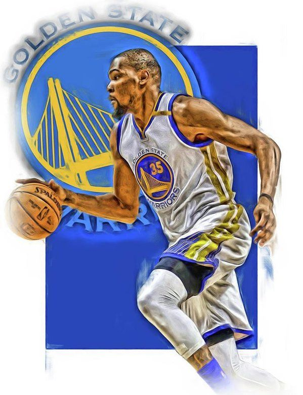 Kevin Durant Print featuring the mixed media Kevin Durant Golden State Warriors Oil Art by Joe Hamilton