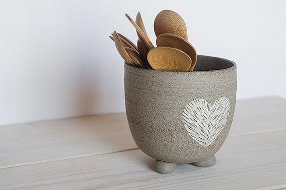 Ceramic kitchen utensil holder, Kitchenware, toothbrush dryer, ceramic toiletry, stoneware pottery, heart decoration, housewarming gift.