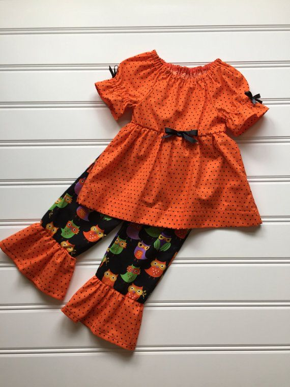 Toddler Girl Halloween Outfit, Halloween Clothes, Ruffle Pants Outfit, Girls Dress Pants Set, Toddler Girl Clothes
