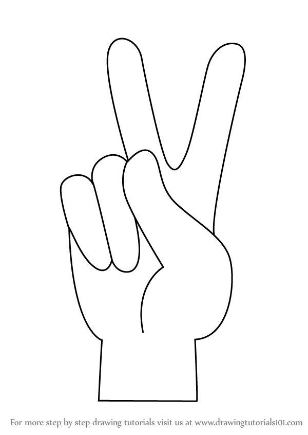 Learn How to Draw Peace Sign Hand (Symbols) Step by Step : Drawing Tutorials