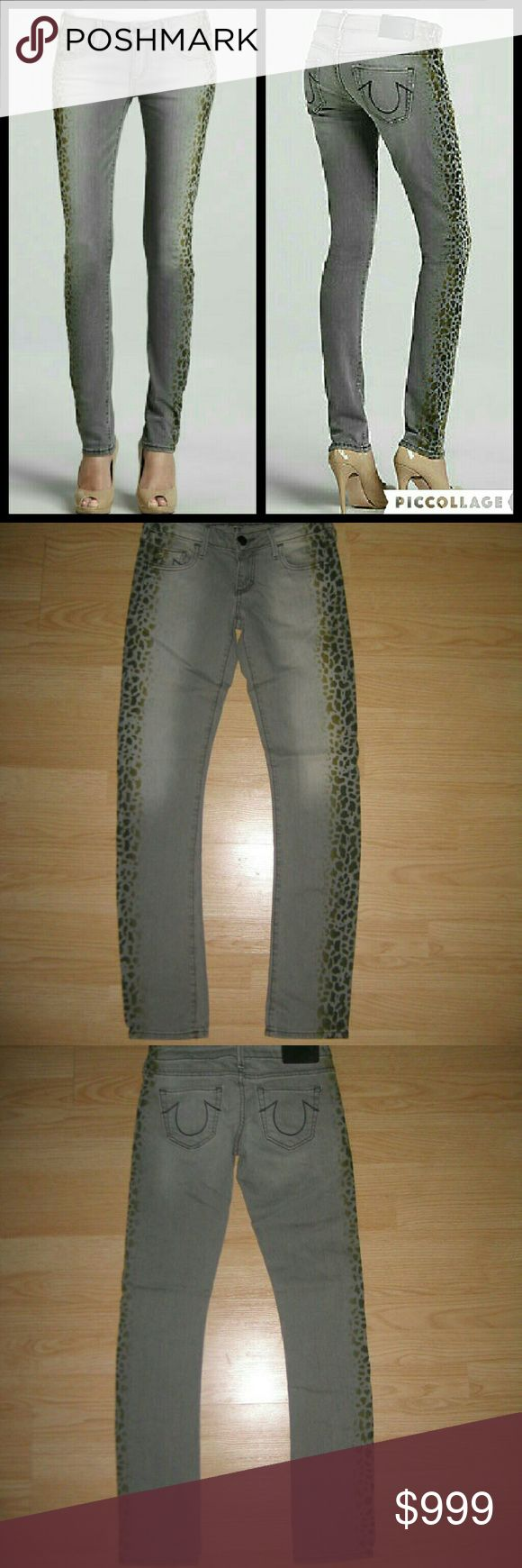 "True Religion Jude Leopard Print Skinny Jeans These jeans are preloved but still in very good condition. They are the Jude Leopard Print Skinny jean in Sand Drifter. Made of 98% cotton 2% spandex. Unfortunately the tags have been cut off so I don't know the size so please check measurements below for fit. But I think these are like a sz 26 maybe a 27.  Waist across with natural dip is 14"" Waist across when aligned is 14.5"" Front Rise is 6.75"" Inseam is 31"" True Religion Jeans Skinny"