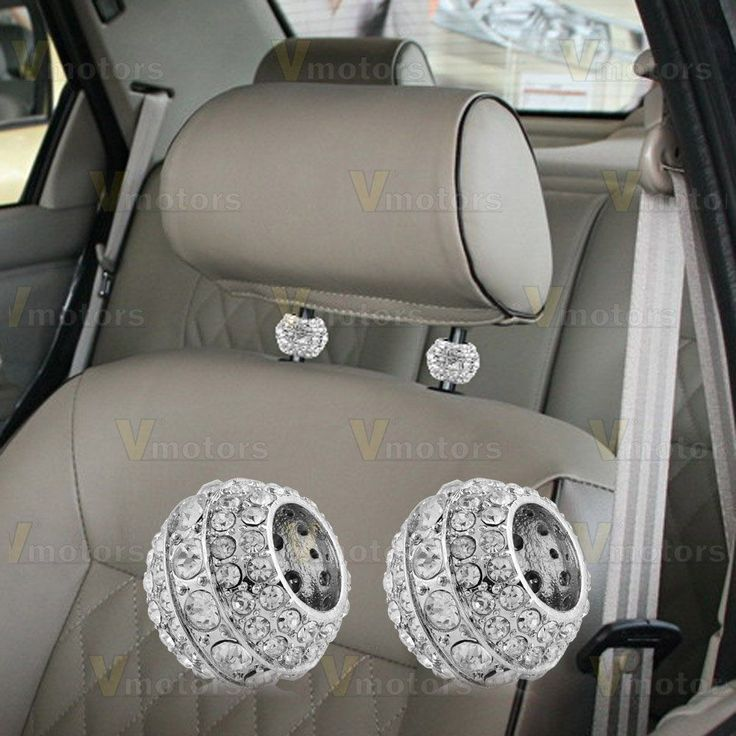Chrome Auto Crystal Car Truck SUV Headrest Head Rest Collars Interior  Decoration