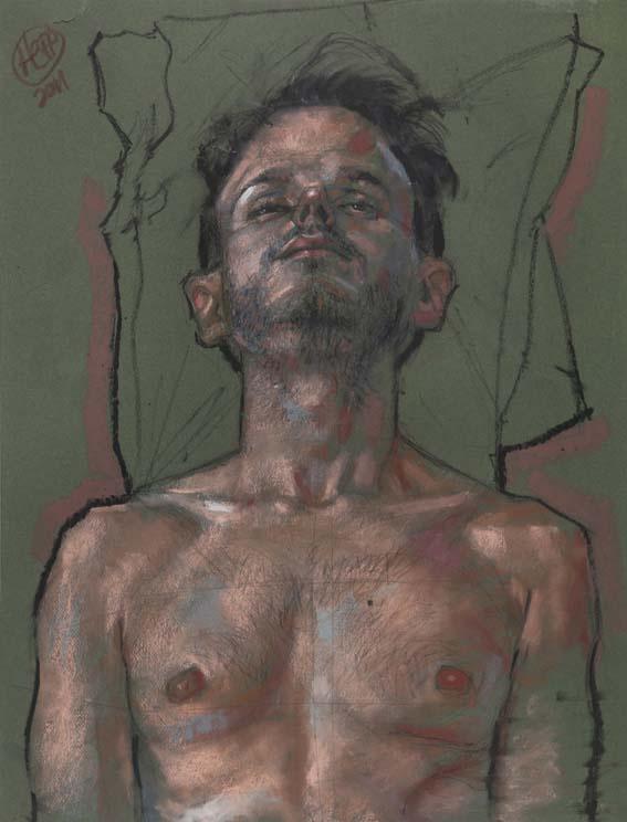 H. Craig Hanna/ MAN WITH PILOWS, Pastel Gras sur Papier Gris, 50 x 65 cm, 2011