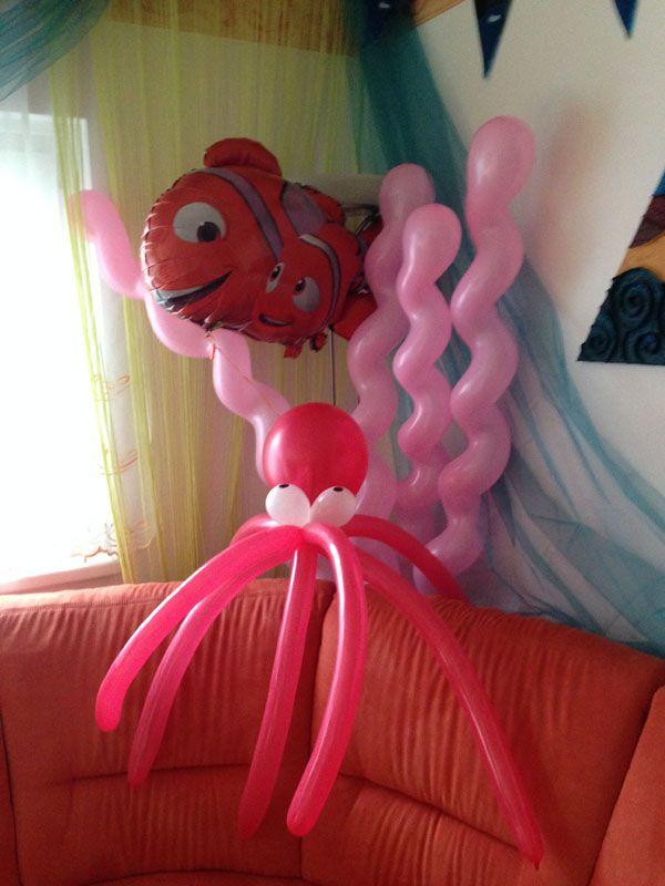 Anemone, Nemo, Marlin und Krake aus Luftballons