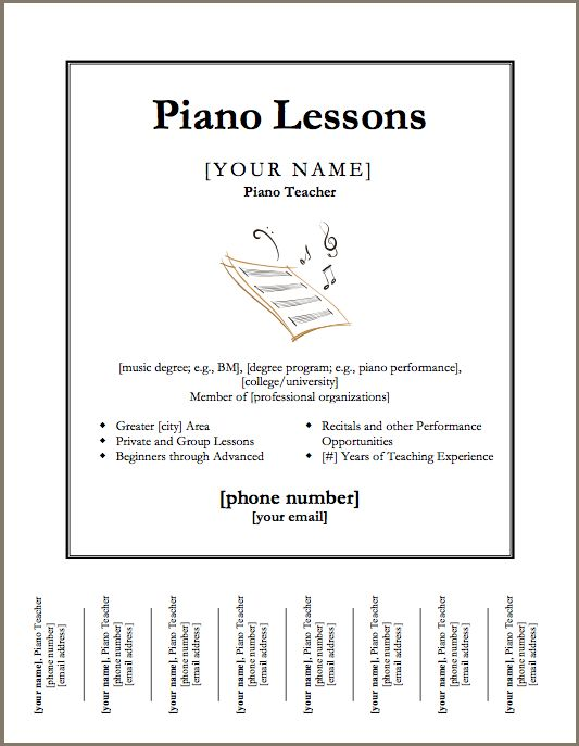 17 best Assignment Sheets and Studio Documents images on Pinterest - piano teacher resume