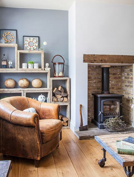 Escape To The Country Home Of Sarah Wilkie Founder Of Homebarn.  Photographed By Michael Norman I Love The Weathered Leather Chair, The  Shelving With Blue ...