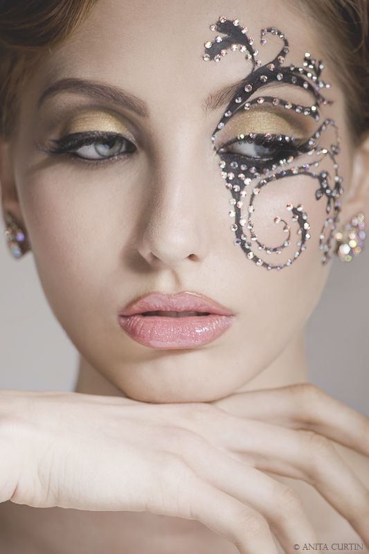 Add Intricate scrolls with crystals to compliment pretty golden eyes for your Intimate Bedroom Dance!