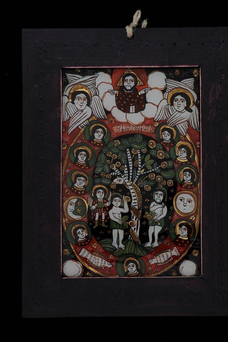 Romanian traditional icon on glass- The Creation of the World /Icoana pe sticla Facerea lumii http://www.librariabizantina.ro/icoana-pe-sticla-facerea-lumii.html http://www.librariabizantina.ro/arta/icoane-pictate-pe-sticla.html?p=2