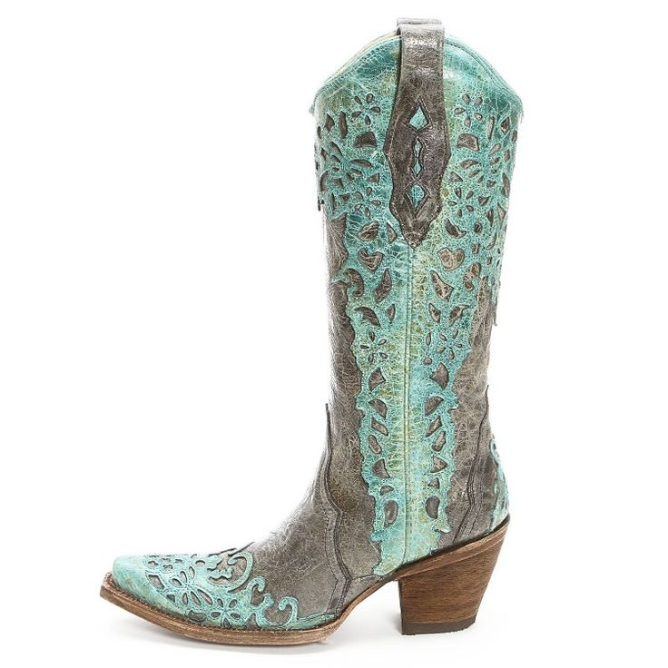 Cowgirl Western Warehouse | Corral Women's Turquoise Laser Overlay Cowgirl Boots