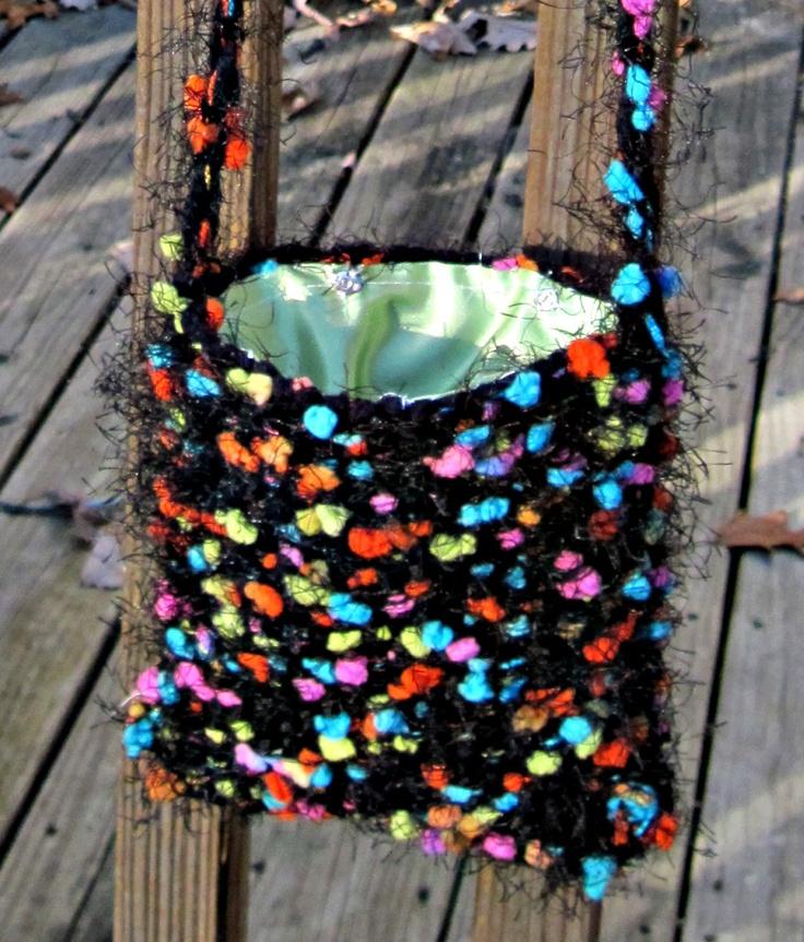 Multicolored Little Bag, handwoven on the potholder loom.