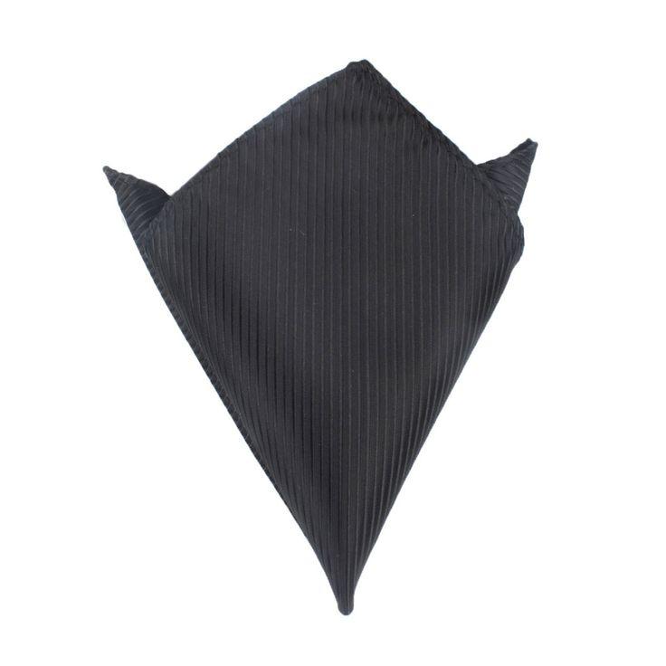 Jet Black Stripes Pocket Square by OTAA | Suit Handkerchief & Men's Pocket Squares  | Online Ties and Accessories  Australia | www.otaa.com.au | OTAA