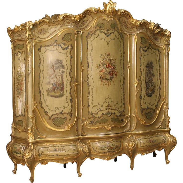 20th Century Venetian Lacquered, Gilt And Painted Wardrobe