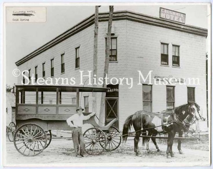 Columbia Hotel, Cold Spring, MN, ca.1900 #horses #minnesota #saloon