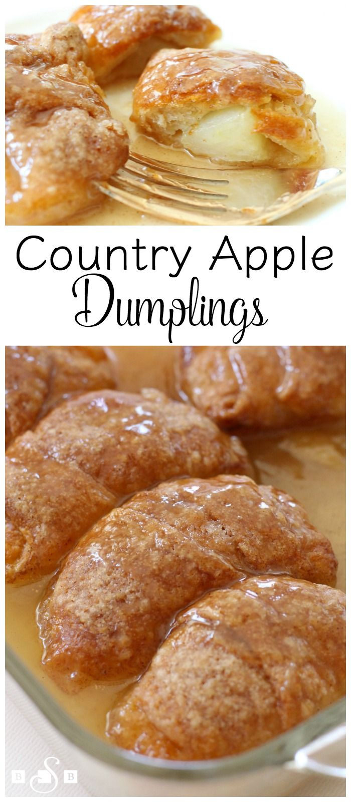 Country Apple Dumplings - the EASIEST apple dumplings EVER! Made with crescent rolls, then drenched in a lovely butter-cinnamon mixture, topped with some 7-Up, then baked. Absolutely delicious! You've GOT to try these! From Butter With A Side of Bread