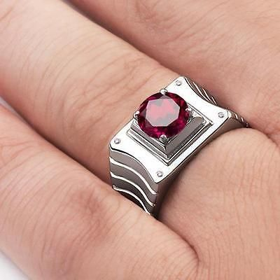 RED RUBY GEMSTONE Mens Ring with GENUINE DIAMONDS in Solid 925 Silver all sz #fashion #sterlingring #mensjewelry #epiconetsy #giftforhim #vintage #vintagejewelry #mensring #ring #ebay #mensfashion #jewelry #diamond #shopping #deals