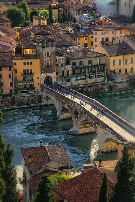 "The Ponte Pietra (Italian for ""Stone Bridge""), once known as the Pons Marmoreus, is a Roman arch bridge crossing the Adige River in Verona, Italy. The bridge was completed in 100 BC, and the Via Postumia from Genua to the Brenner Pass passed over it."
