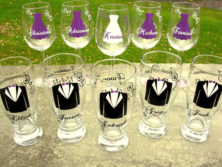 How Many Wine Glasses For Wedding Gift : copas personalizadas para los novios, las damas de honor y los ...